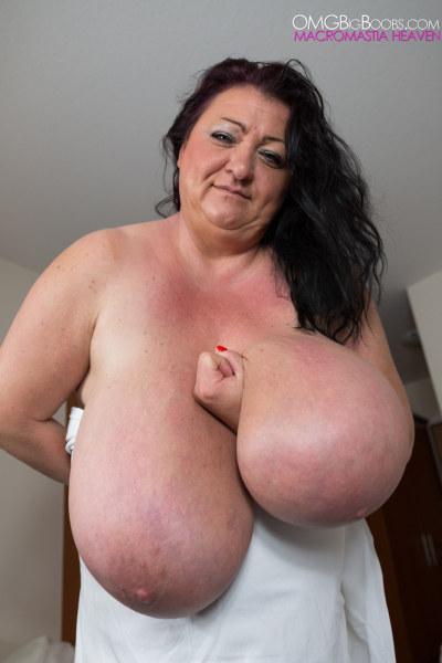 Having natural large breasts